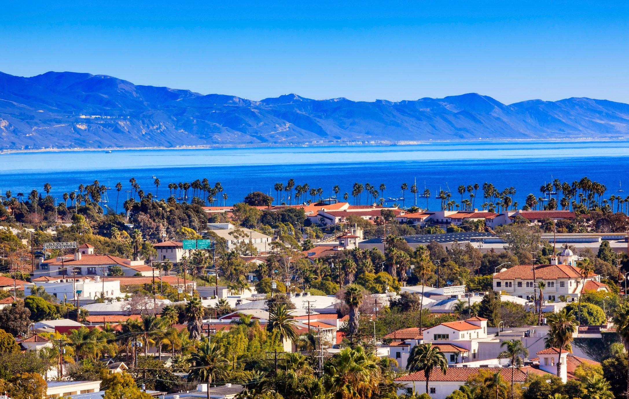 Buildings Coastline Pacific Ocean Santa Barbara California