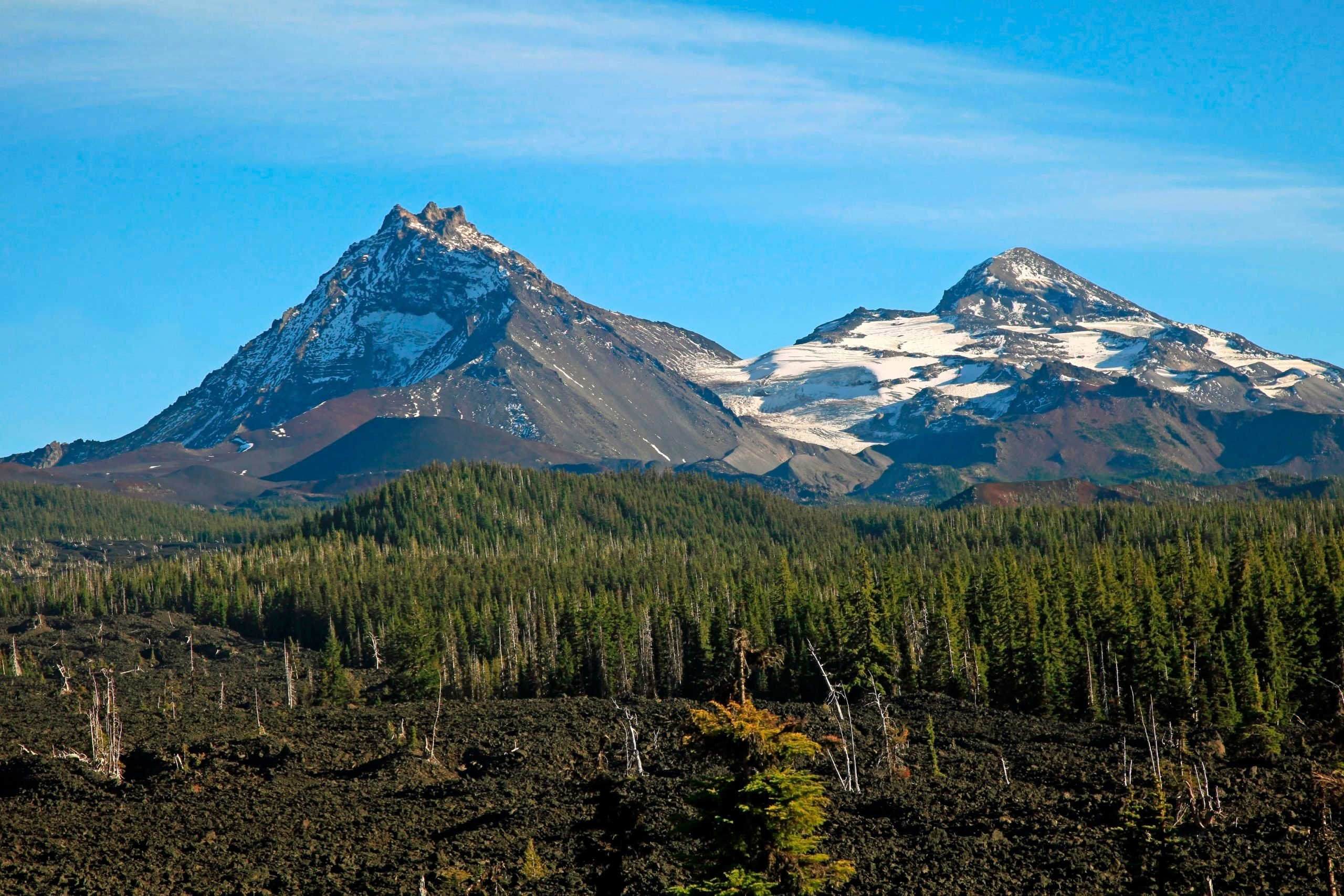Three Sisters Wilderness from McKenzie Pass in the central Oregon Cascade Mountains