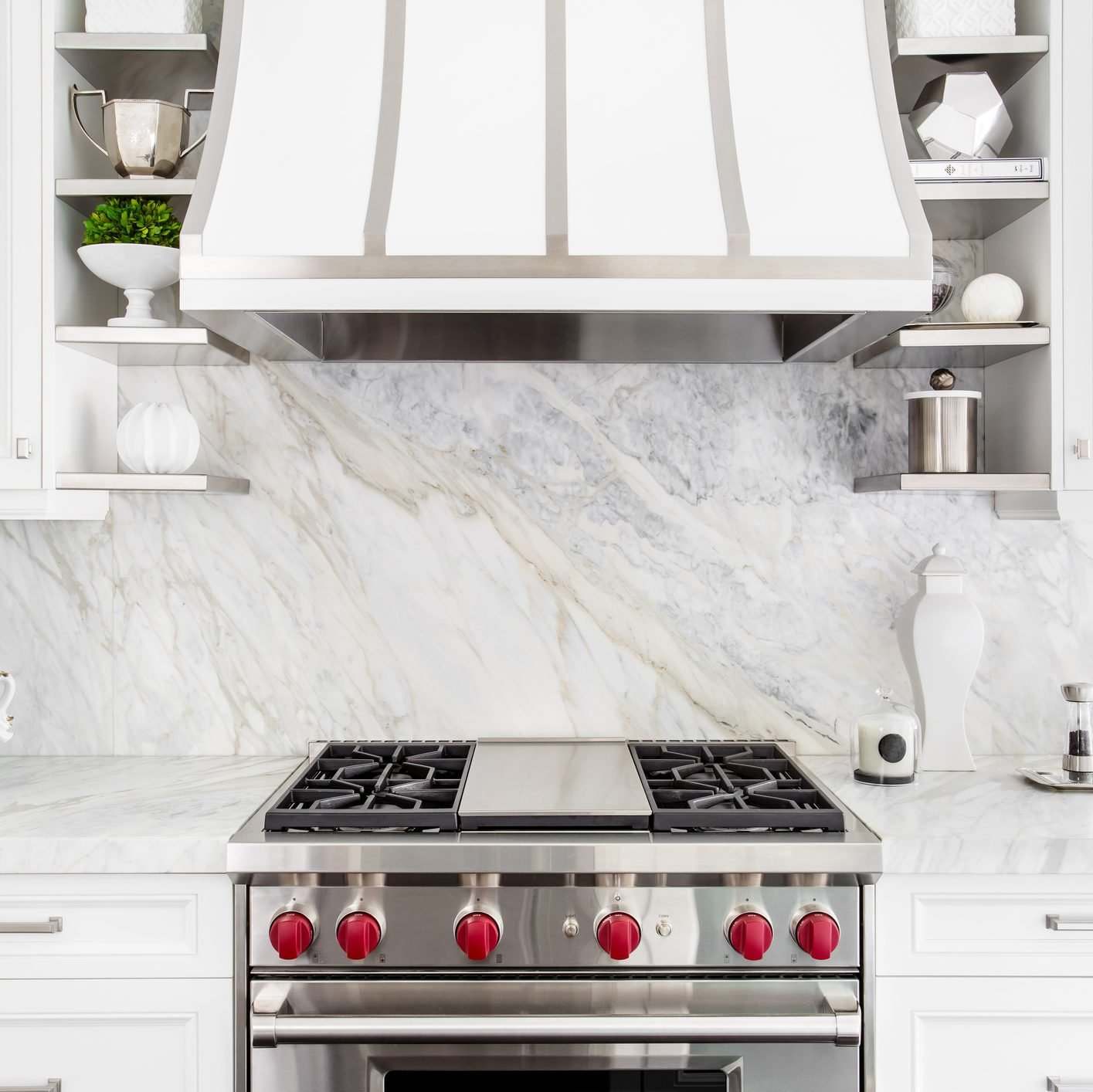 Bright Classic White kitchen with gas range