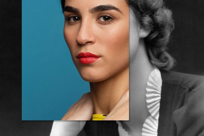 Portrait Of Young latin woman combined with vintage photo