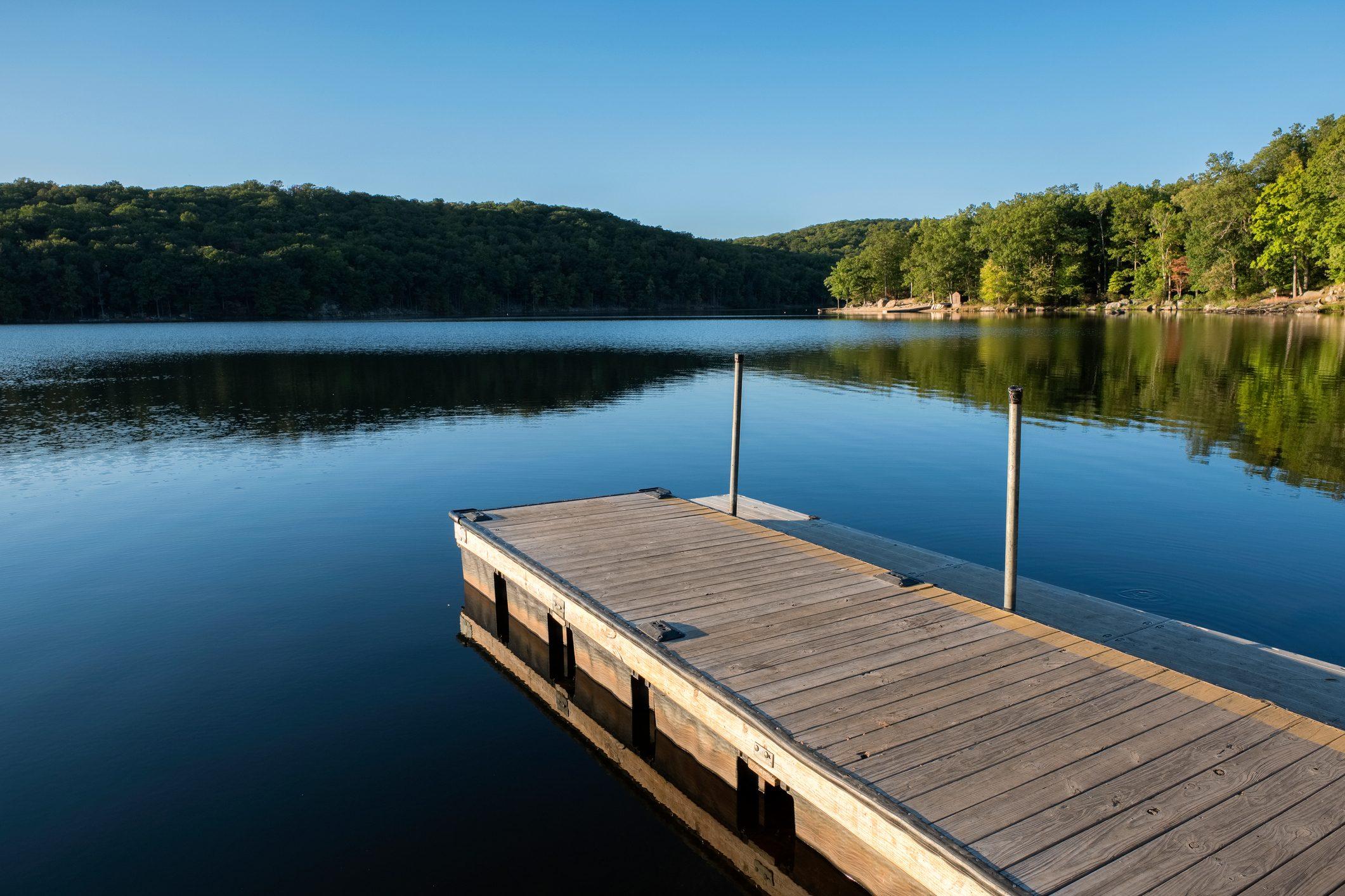 Dock at Lake Sebago, Harriman State Park, New York, USA.