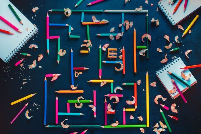 Writer at work: maze of pencils and ideas