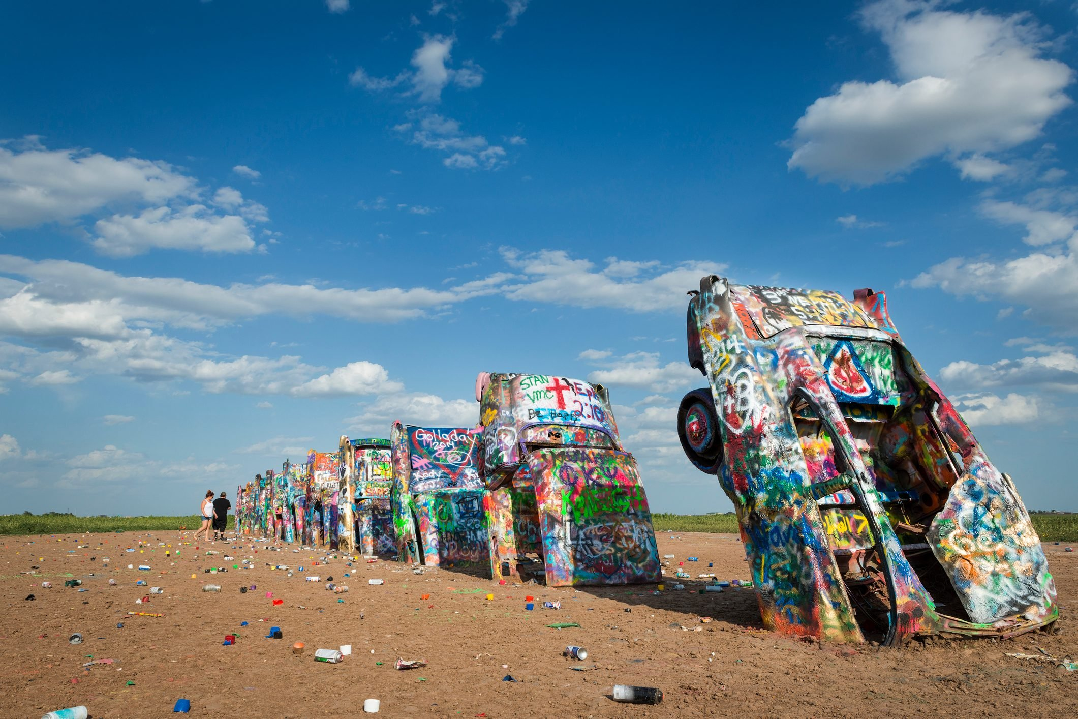 Row of brightly painted Cadillacs in the Cadillac Ranch in Amarillo, Texas, USA.