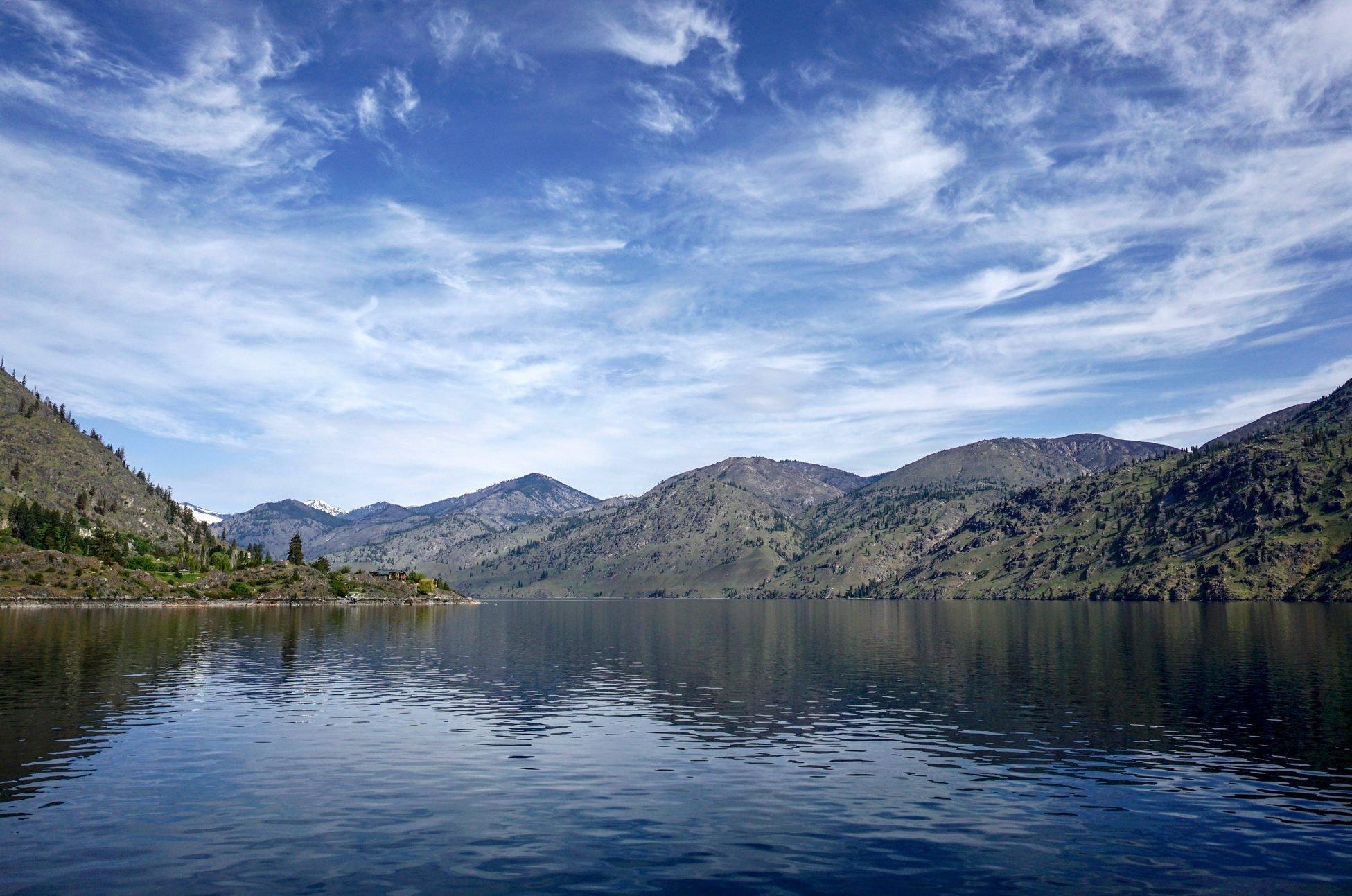 Blue Sky, Blue Lake, Mountains, Lake Chelan, Washington