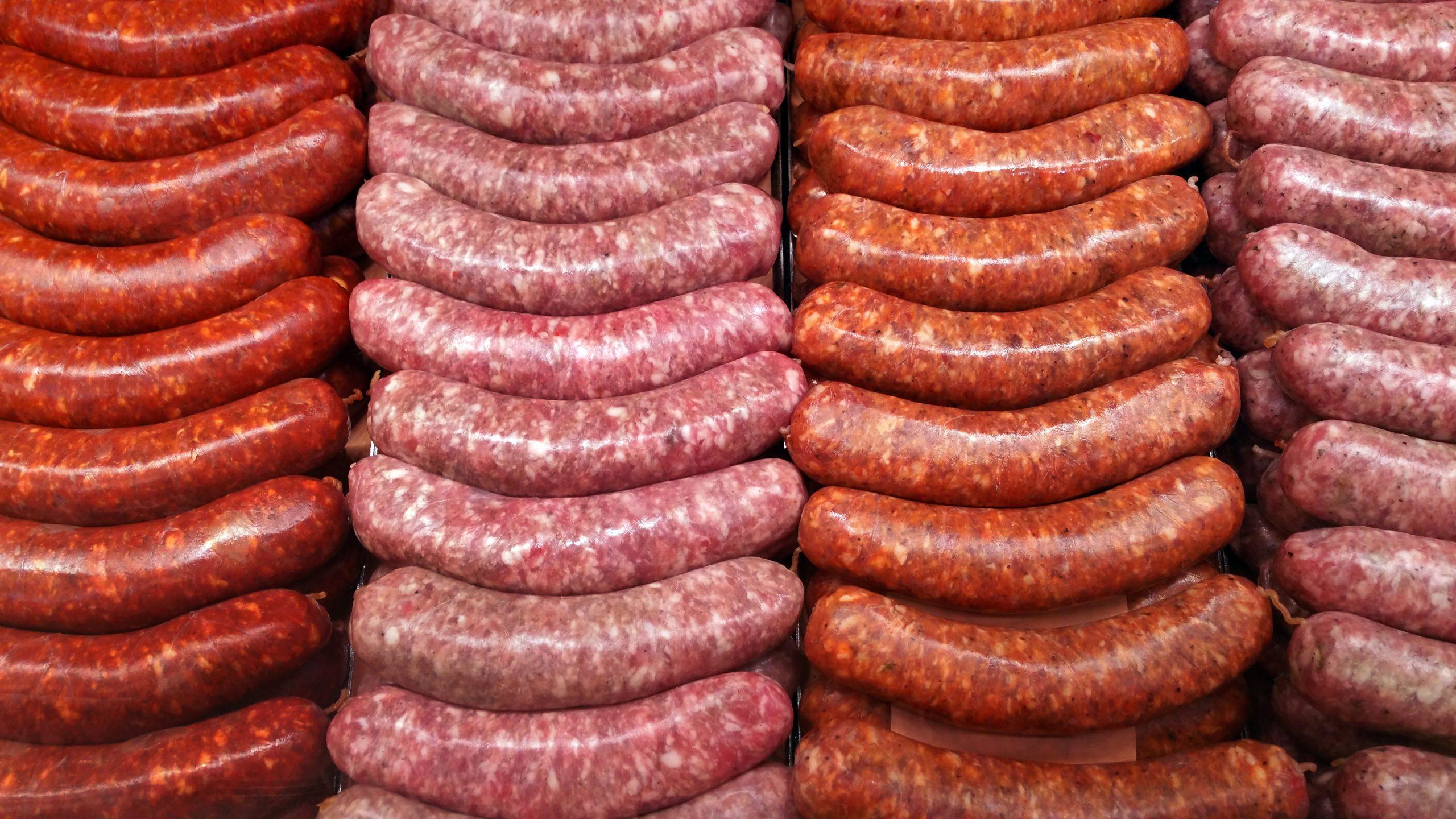 Full Frame Shot Of Sausages