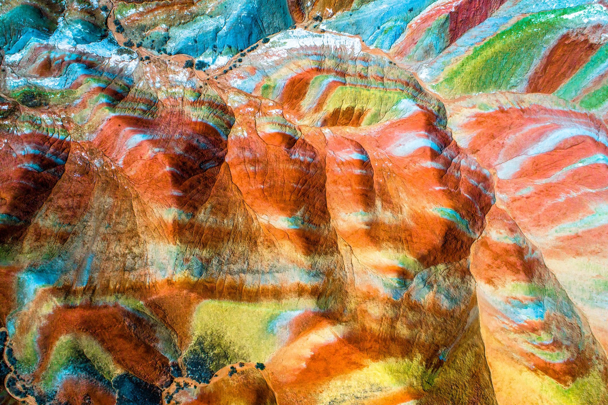 Colorful pattern on rainbow mountains