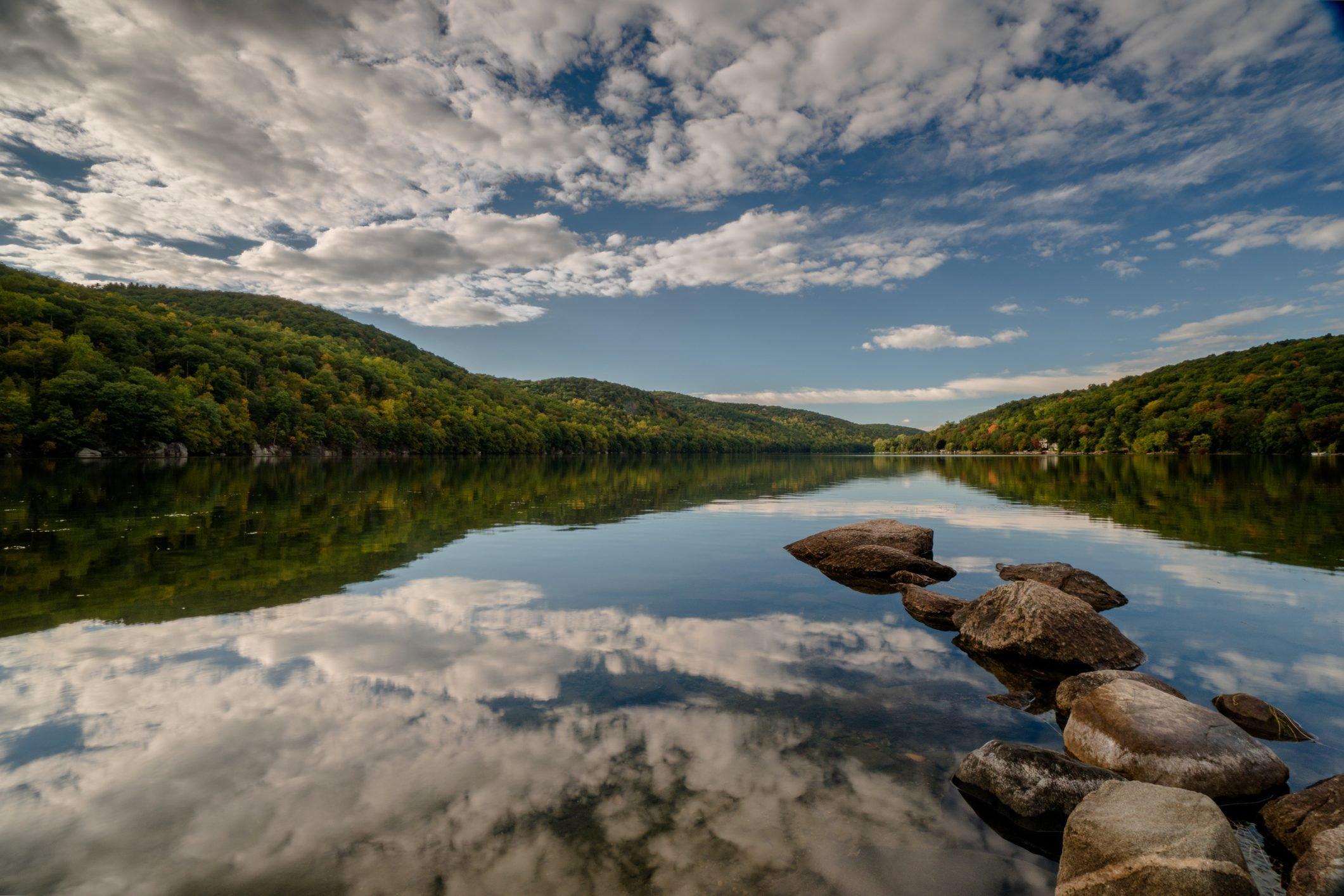 beautiful mountain lake in New England