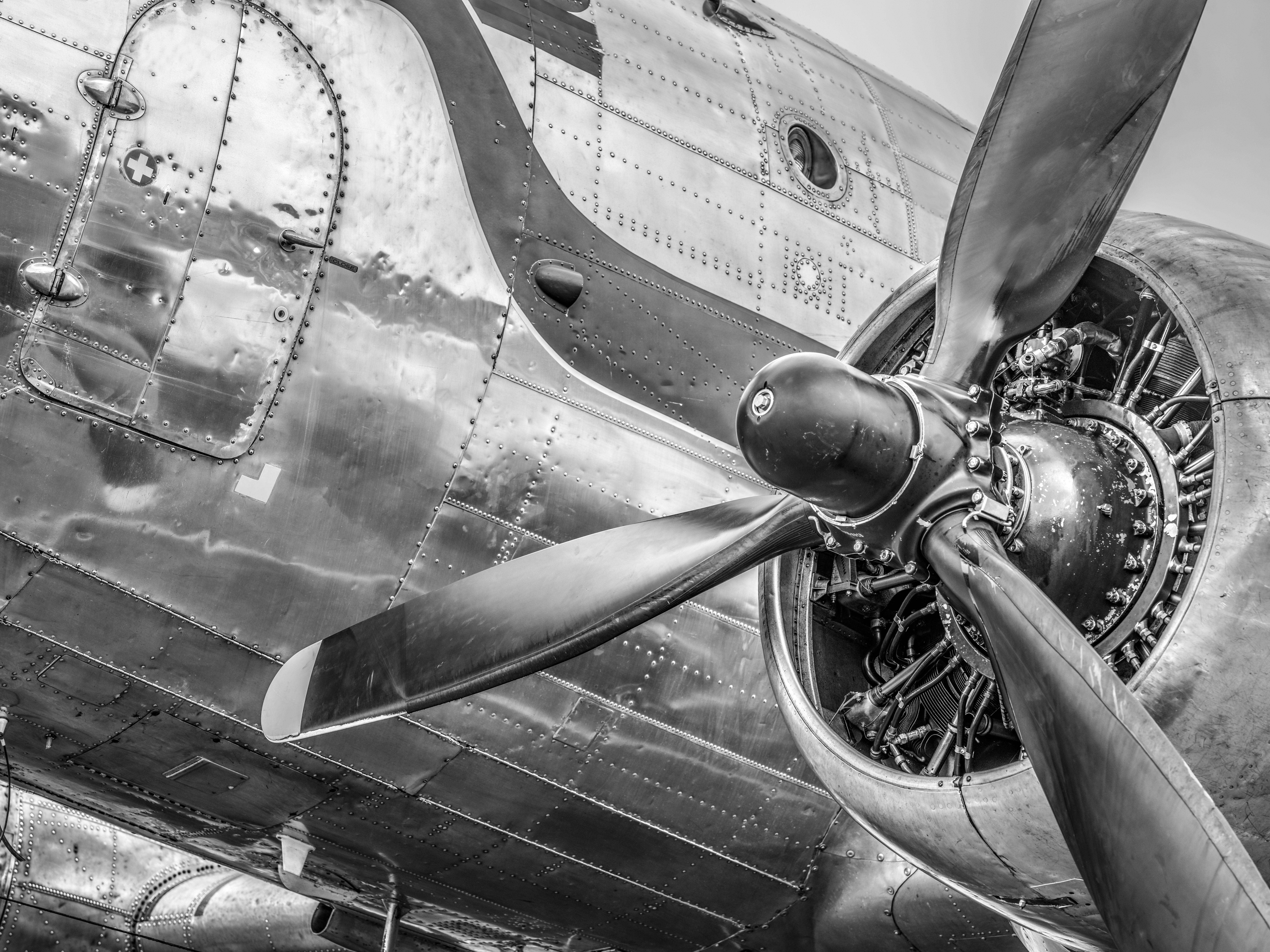 Vintage Douglas DC-3 propeller airplane ready for take off