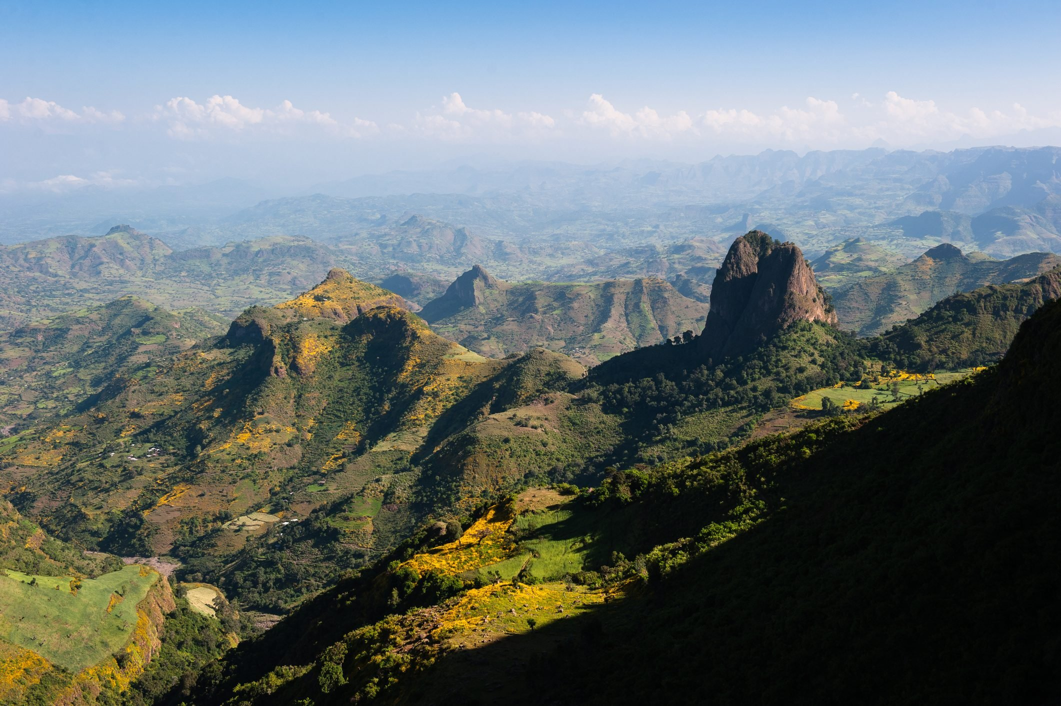 Beautiful clear view across the Simien Mountains on the road between Gonder and Debark, Ethiopia