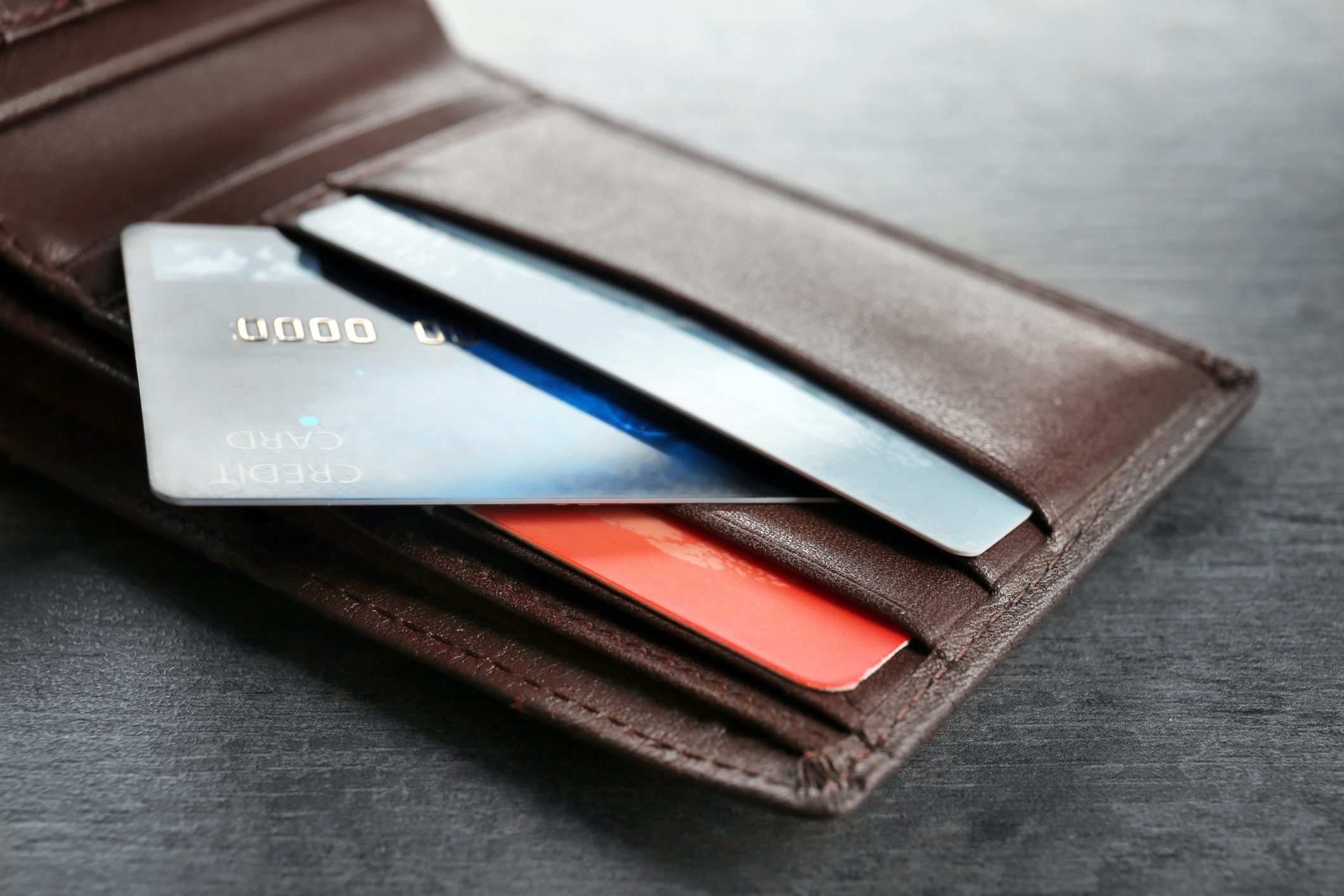 Wallet with credit cards on table, closeup