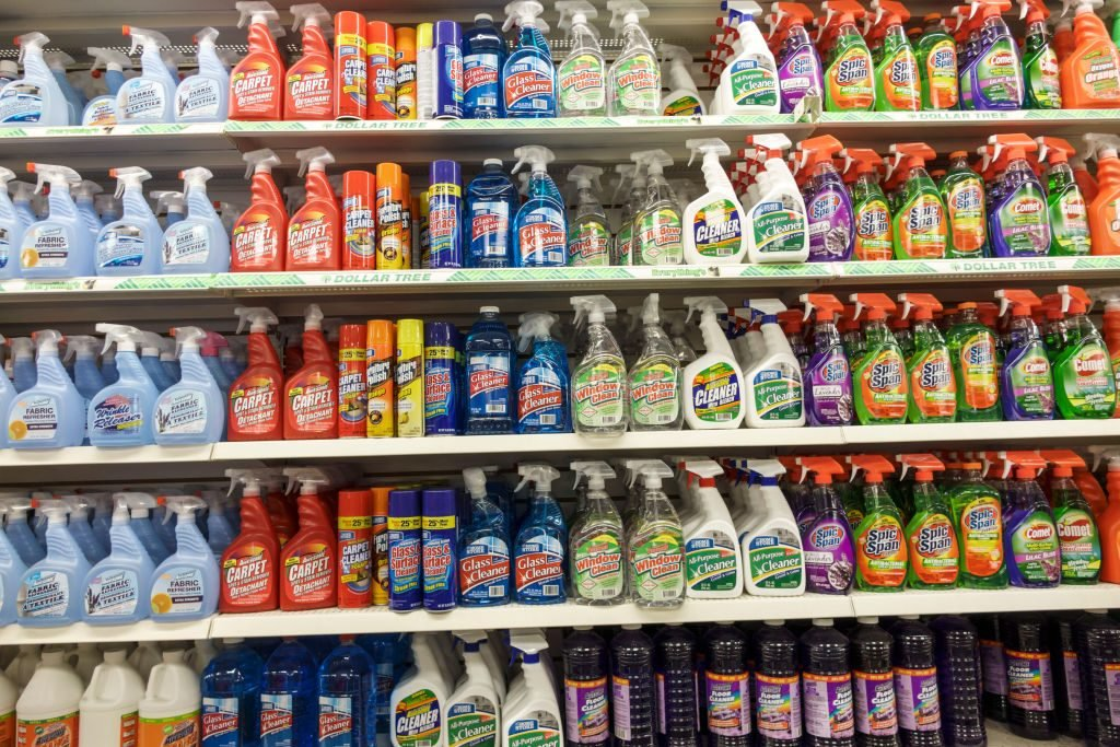 Shelves of cleaning products for sale at the Dollar Tree at Park Shore Plaza.