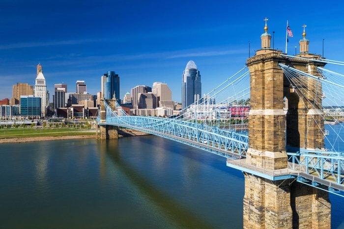 Cincinnati's Roebling Suspension Bridge With Downtown Skyline, Elevated View