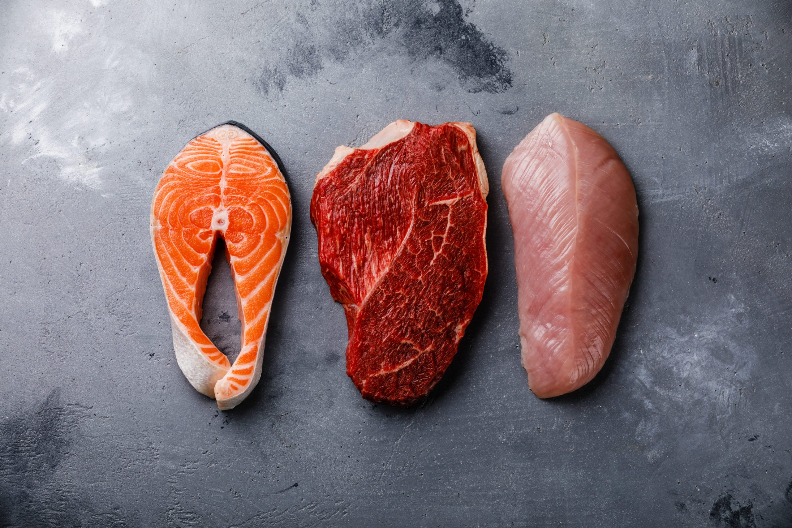 Raw food Salmon oily fish steak, beef meat and turkey breast