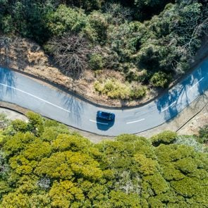 Aerial view of road amidst trees in forest.