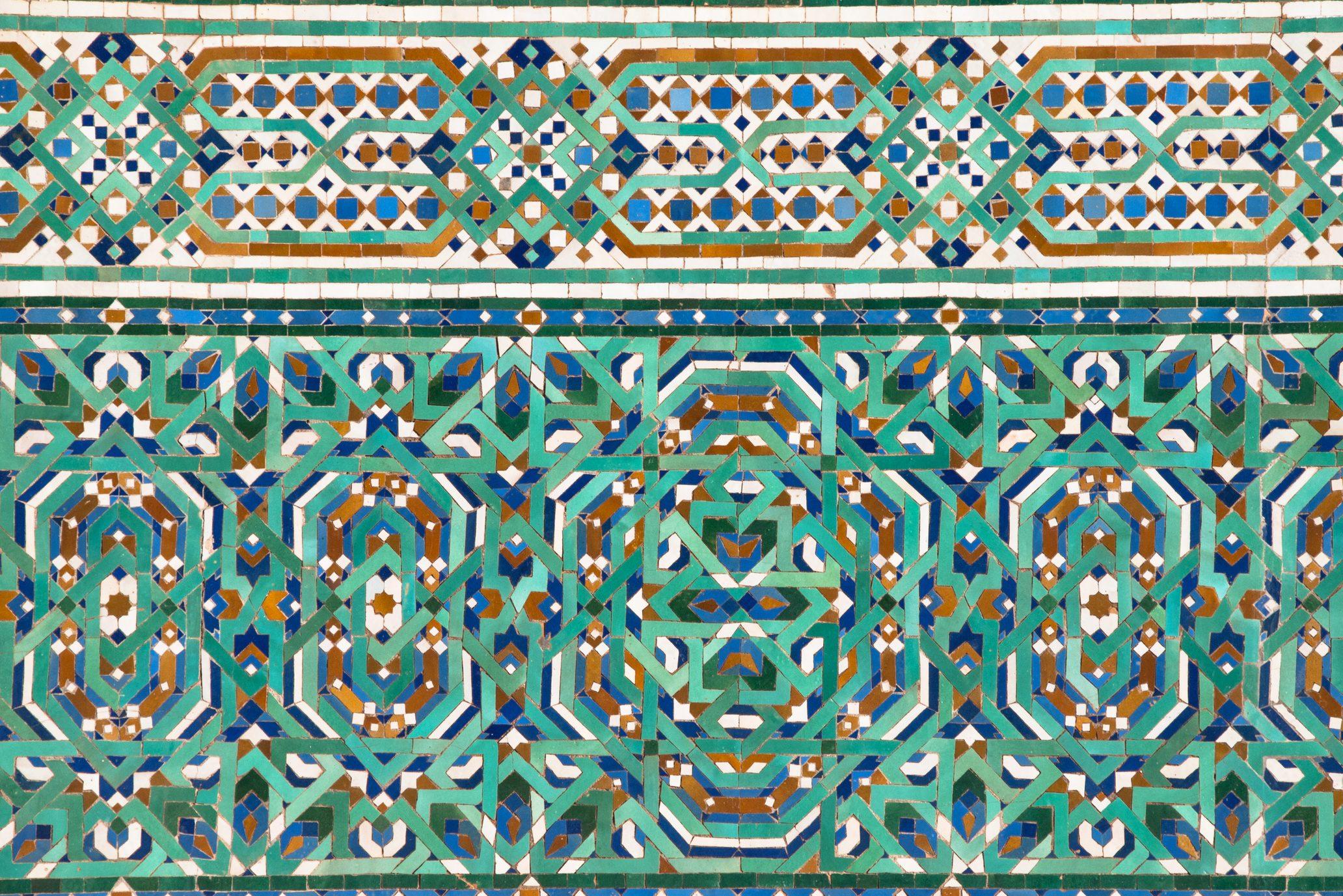 Zellige mosaic tilework in Hassan II Mosque in Casablanca, Morocco