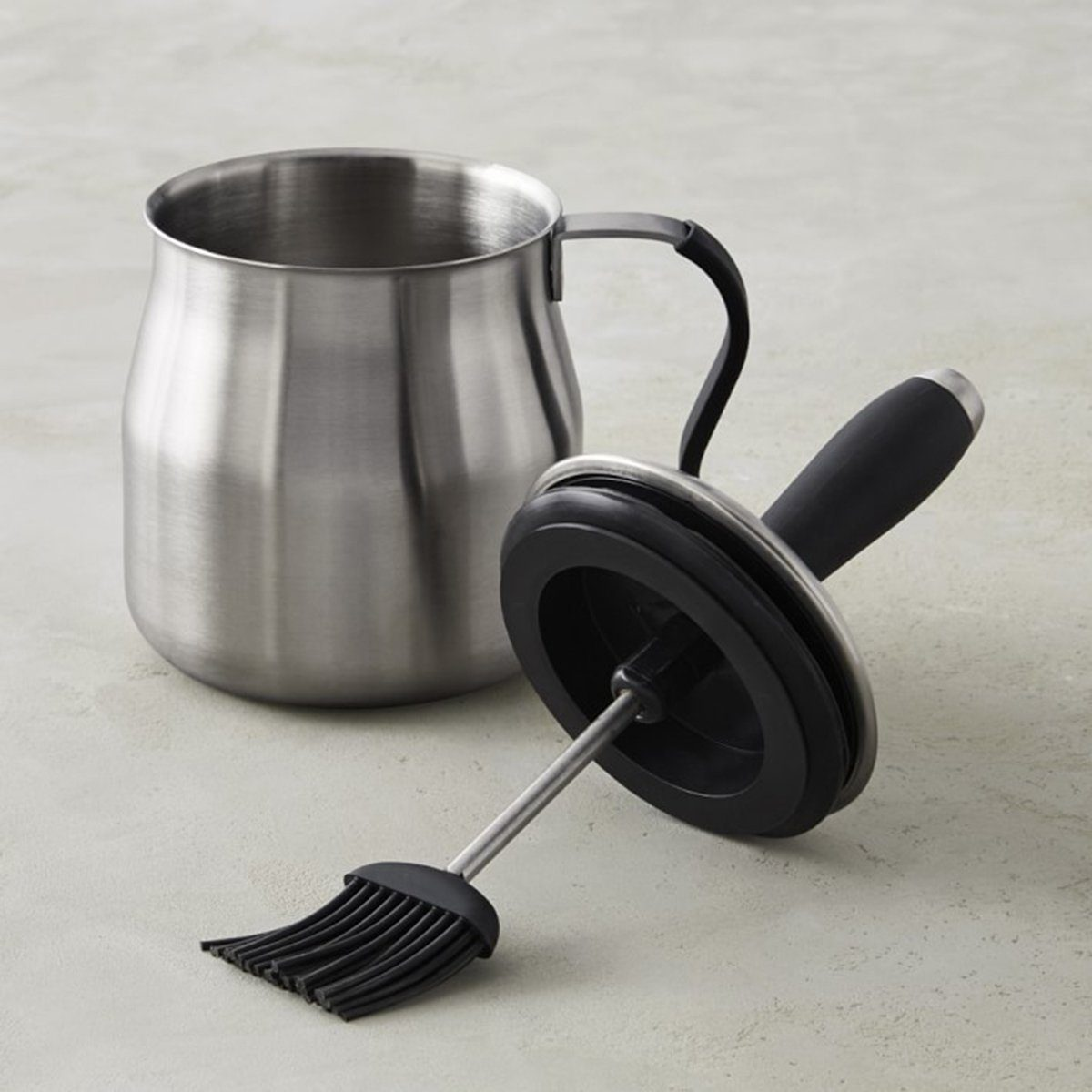 Stainless-Steel Basting Pot with Silicone Brush and Handle