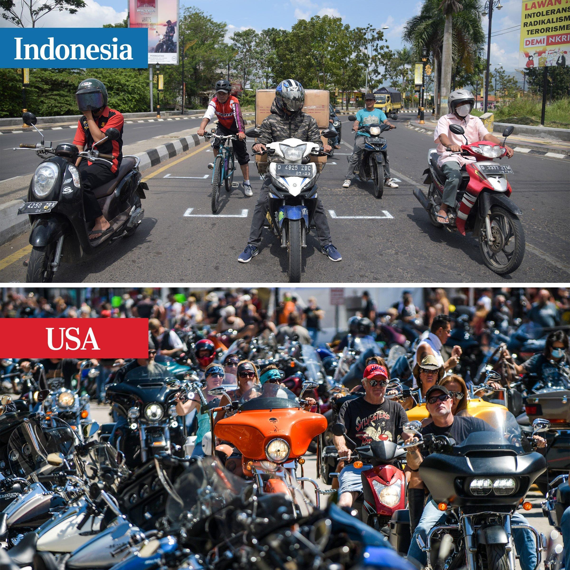 indonesia vs usa - motorcyclists