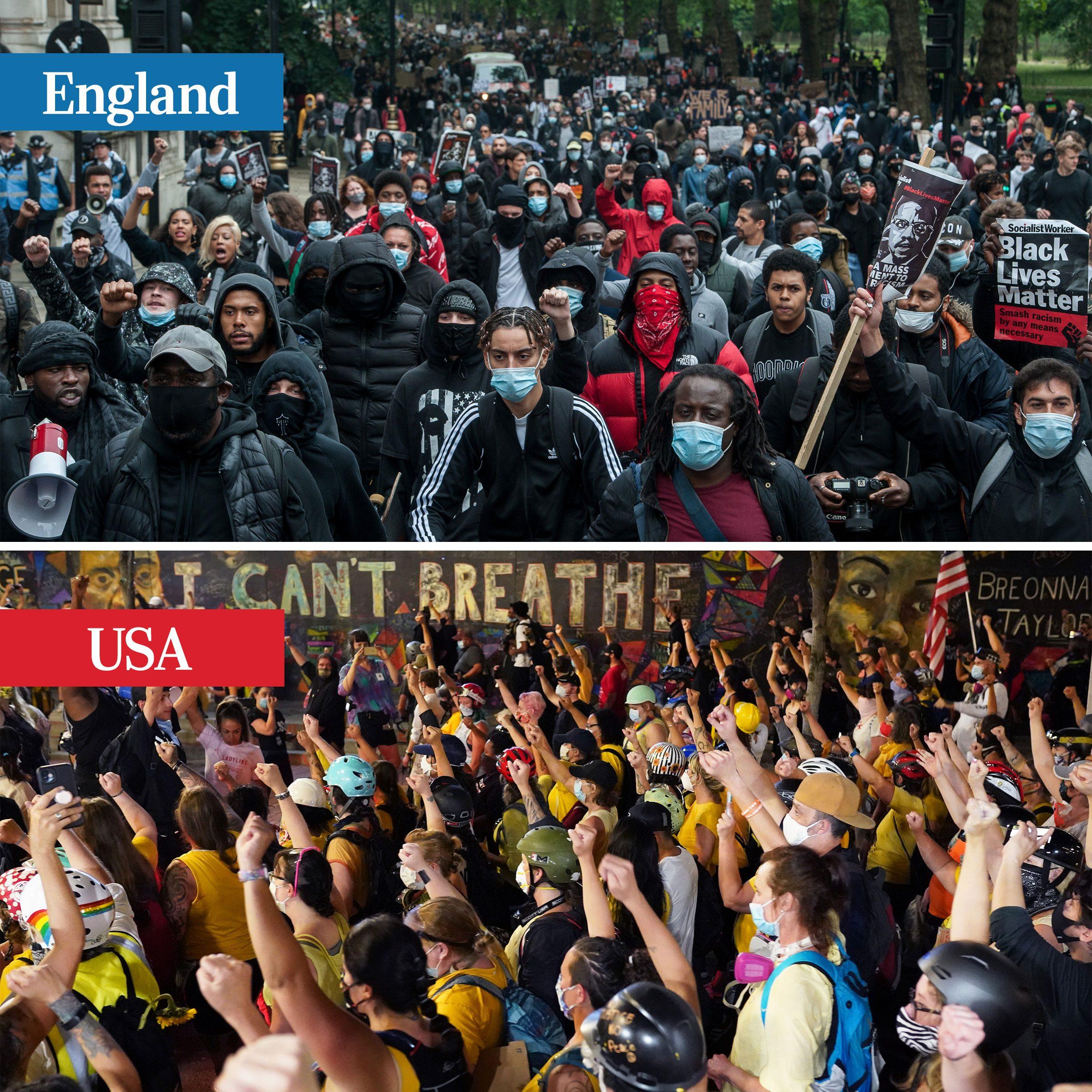 england vs usa - protests