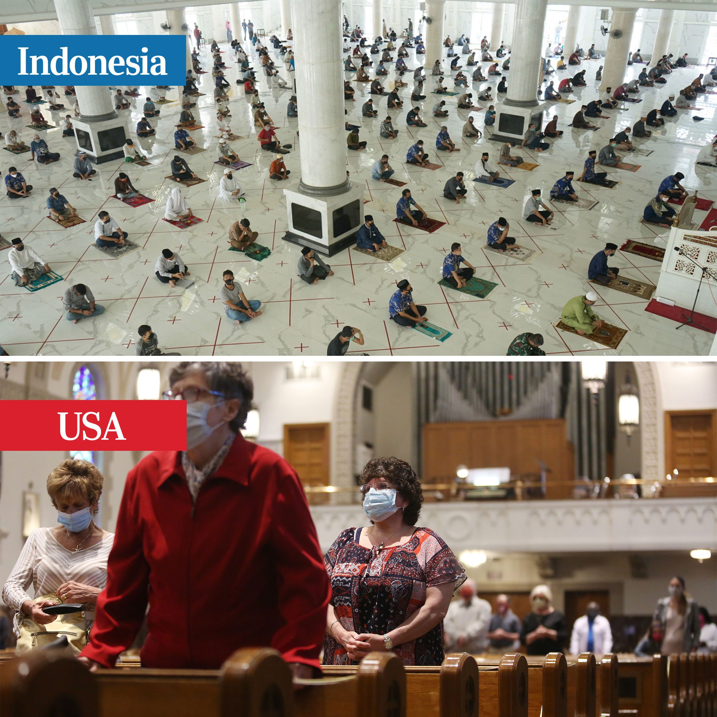 indonesia vs usa - places of worship