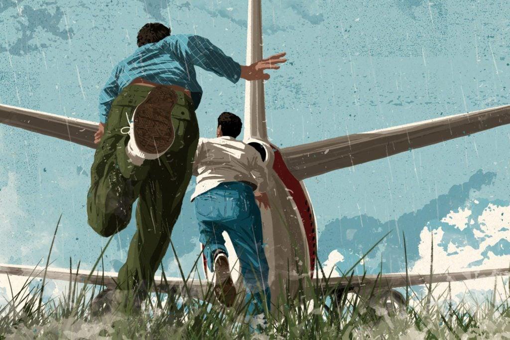 two men running after a plane illustration