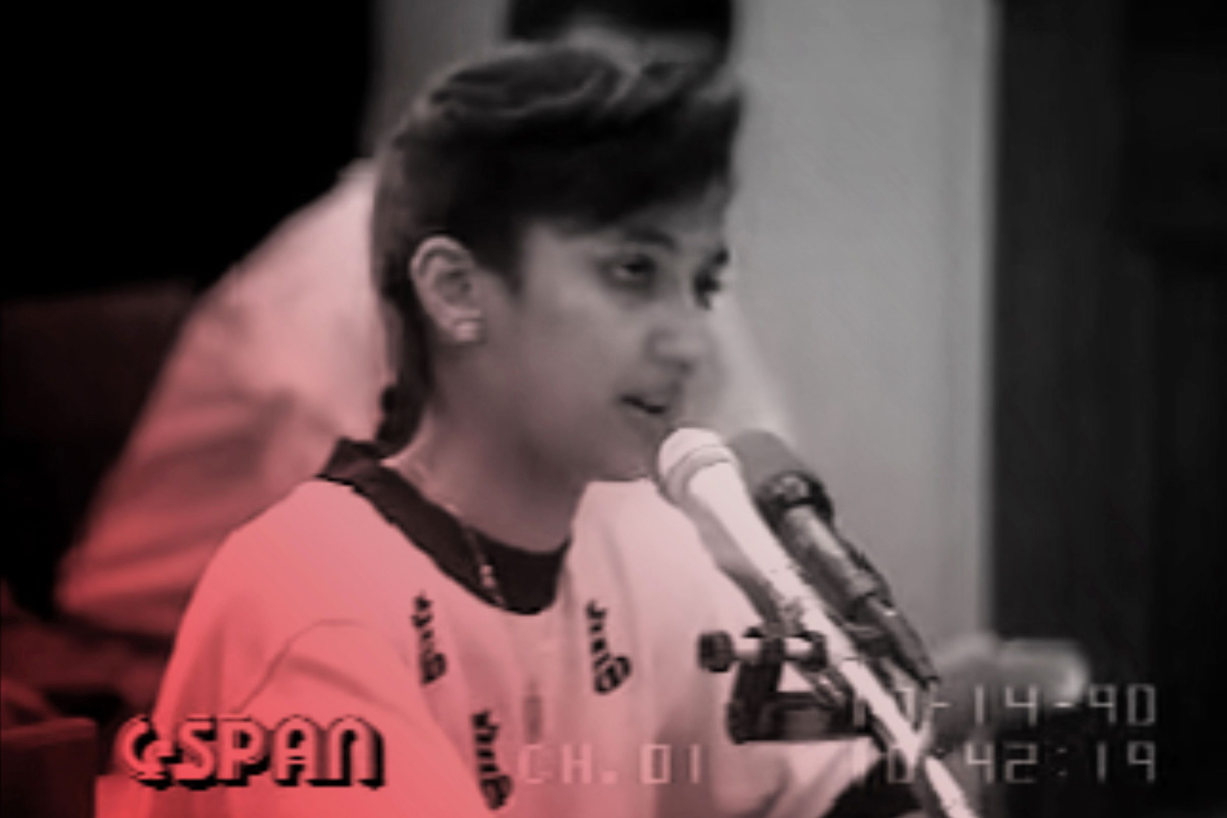 C-SPAN screencapture of 15-year-old Nayirah delivering her testimony to the Congressional Human Rights Caucus