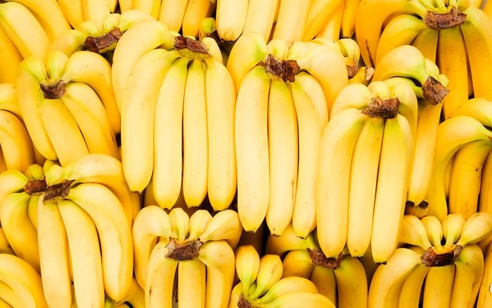 Many bunches of fresh yellow bananas fill the frame
