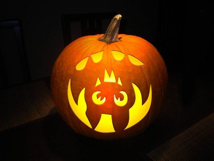 bat carved into a pumpkin