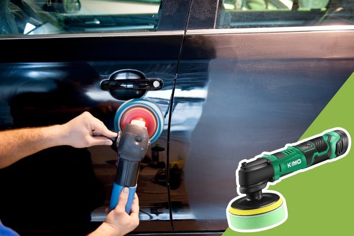 buffing the side of car with inset of car buffer