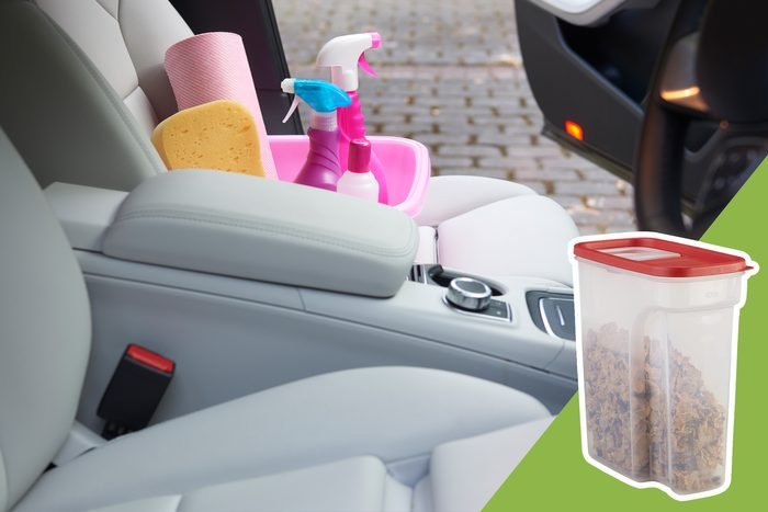 cleaning inside of car with inset of container for garbage