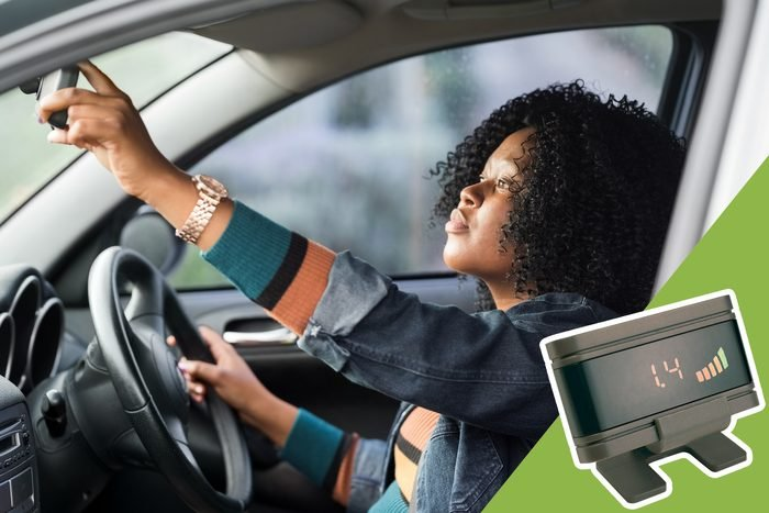 woman checking rearview mirror with inset of parking assistance tool to buy