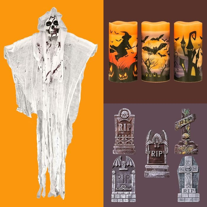 Halloween Decoration products on color block background
