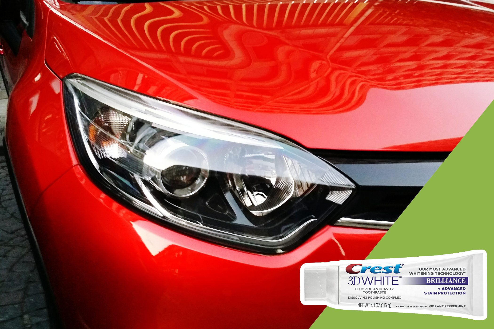 clean headlights with inset of toothpaste