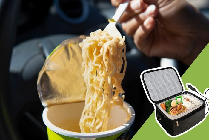 eating ramen noodles while driving with inset of insulated cooler bag