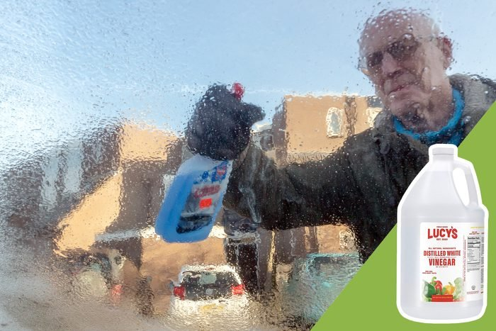 man spraying windshield with inset of vinegar to buy