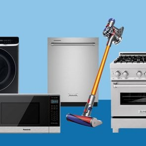appliances on blue background for labor day sales