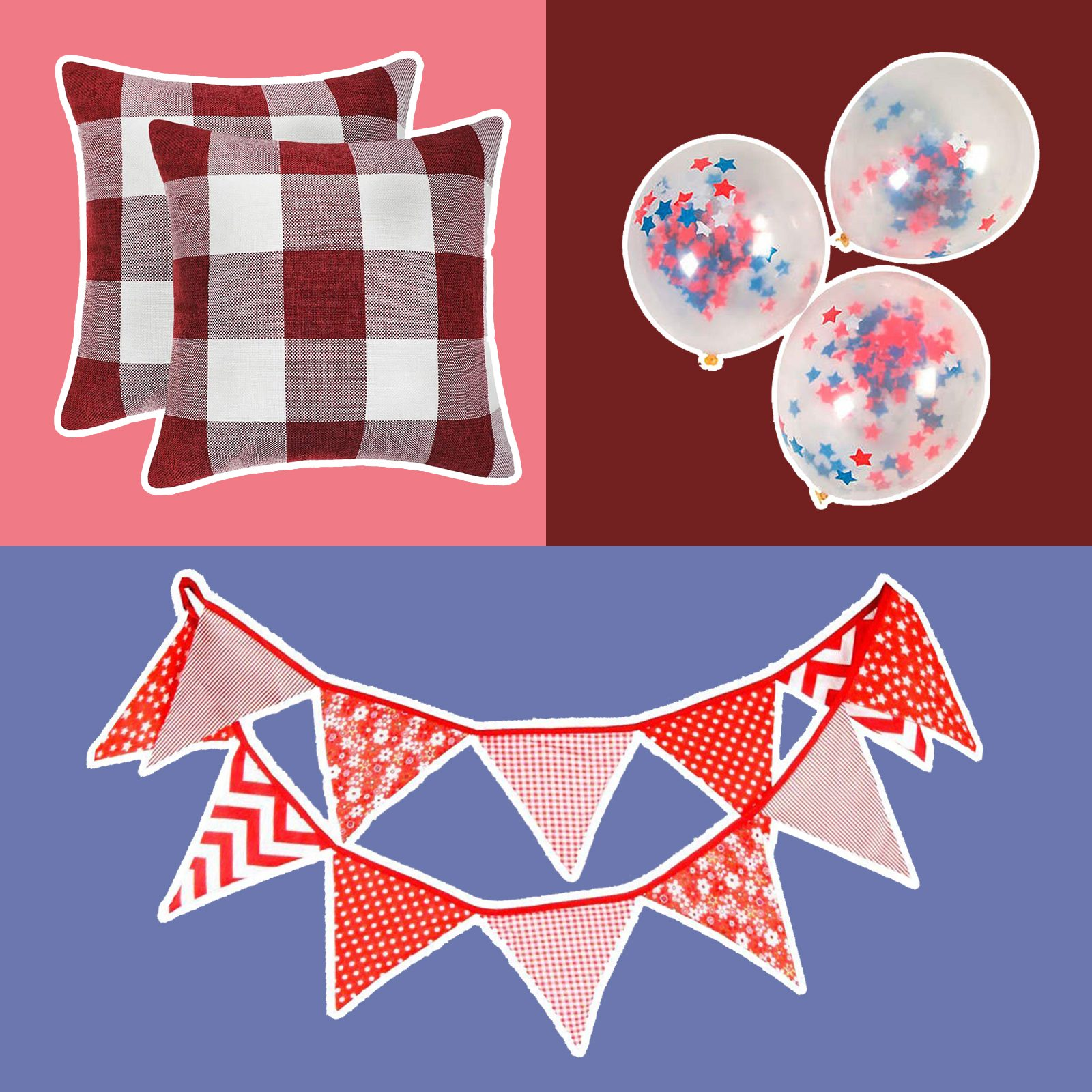 three Labor Day decorations (linked below) on a multicolor background