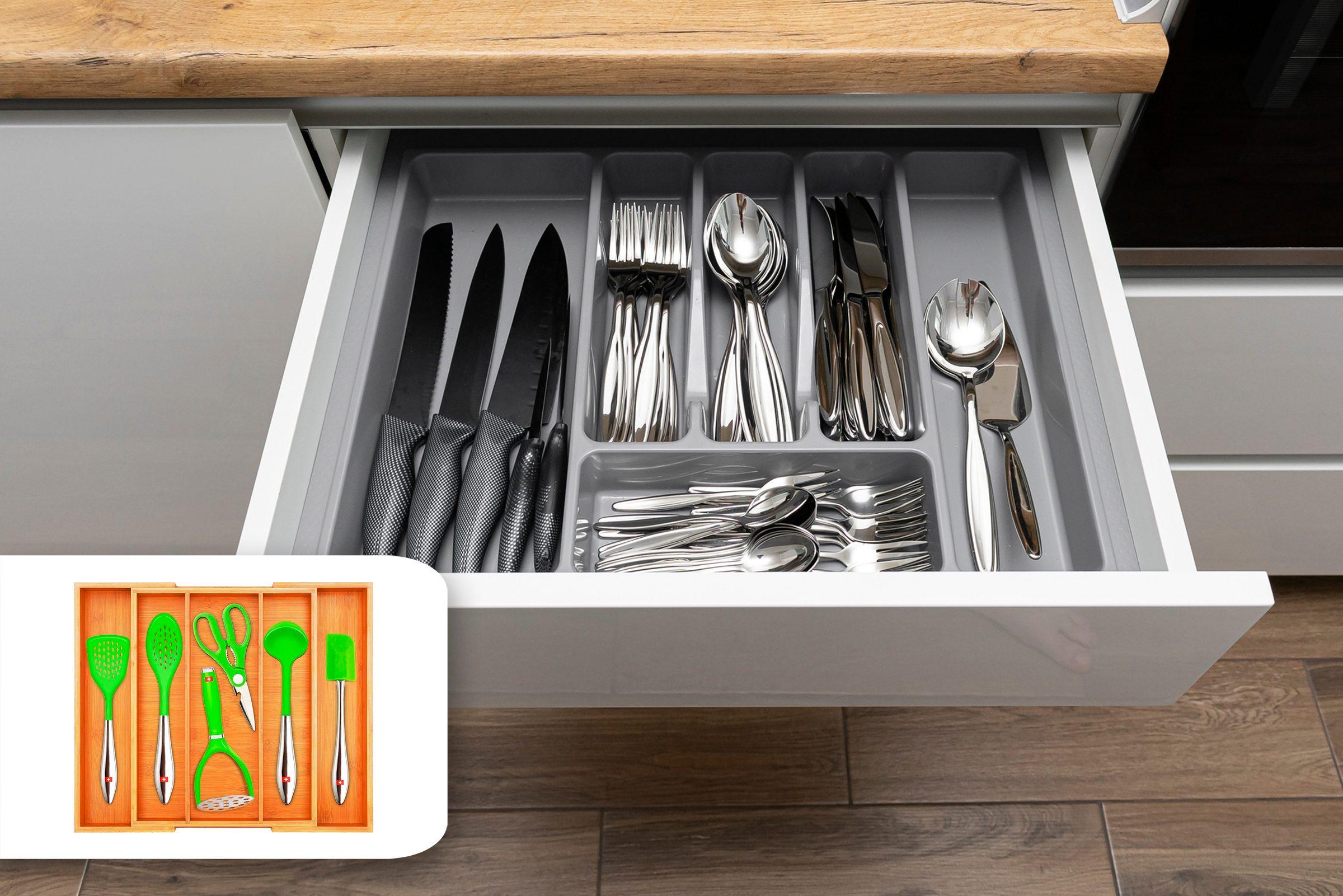 organized silverware drawer kitchen amazon