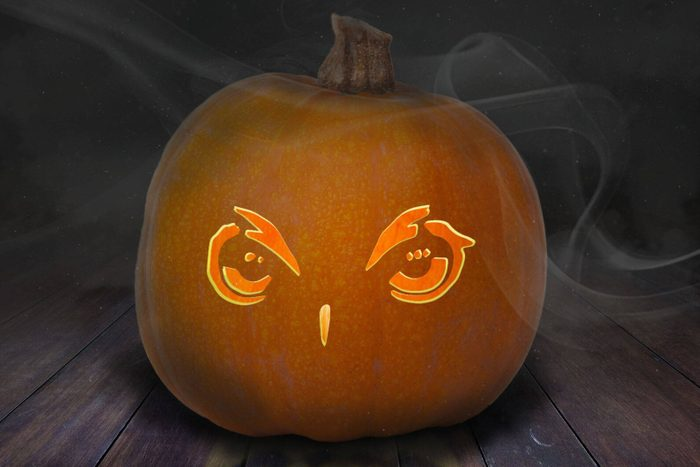 Owl eyes carved into Pumpkin