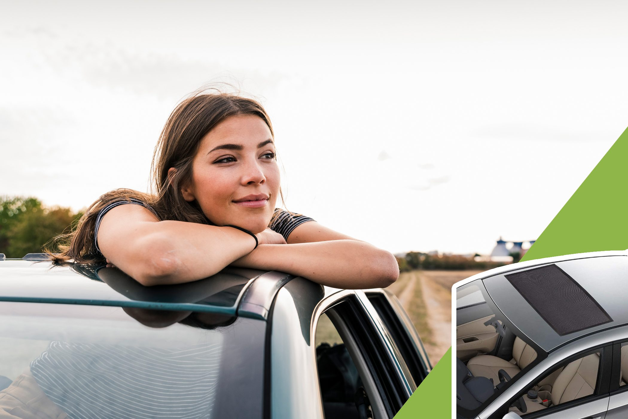 woman looking out sunroof with inset of sunroof screen