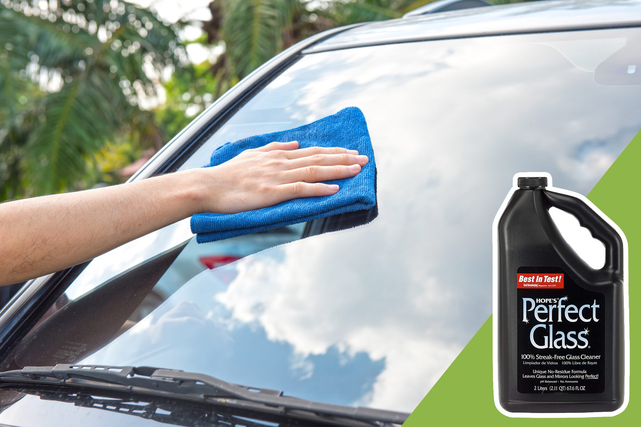 cleaning windshield of car with inset of glass cleaner