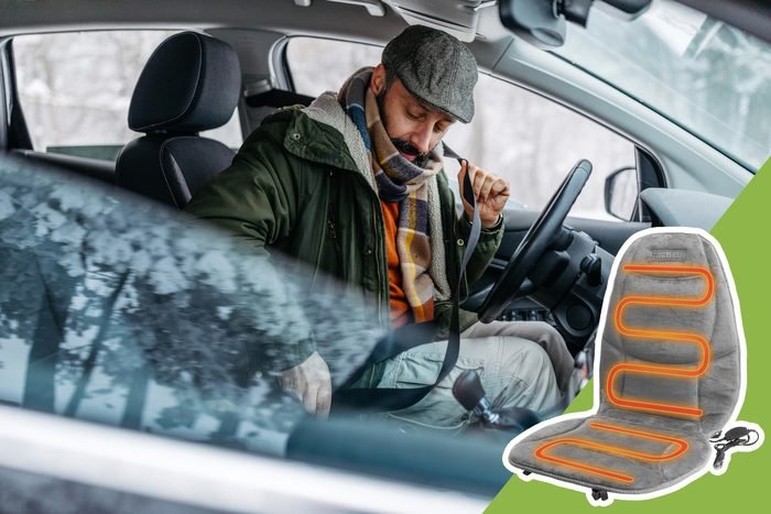 man buckling seatbelt in the winter with inset of seat warmer to buy