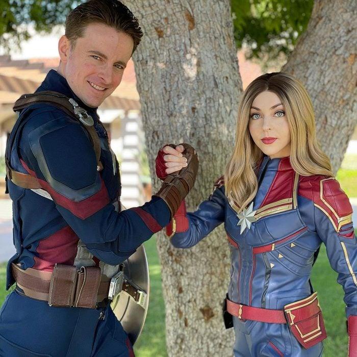 Captain Marvel And Captain America Halloween Costume