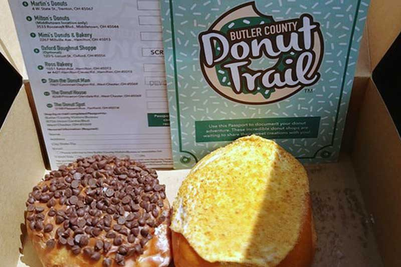 Donut trail checklist beside two donuts