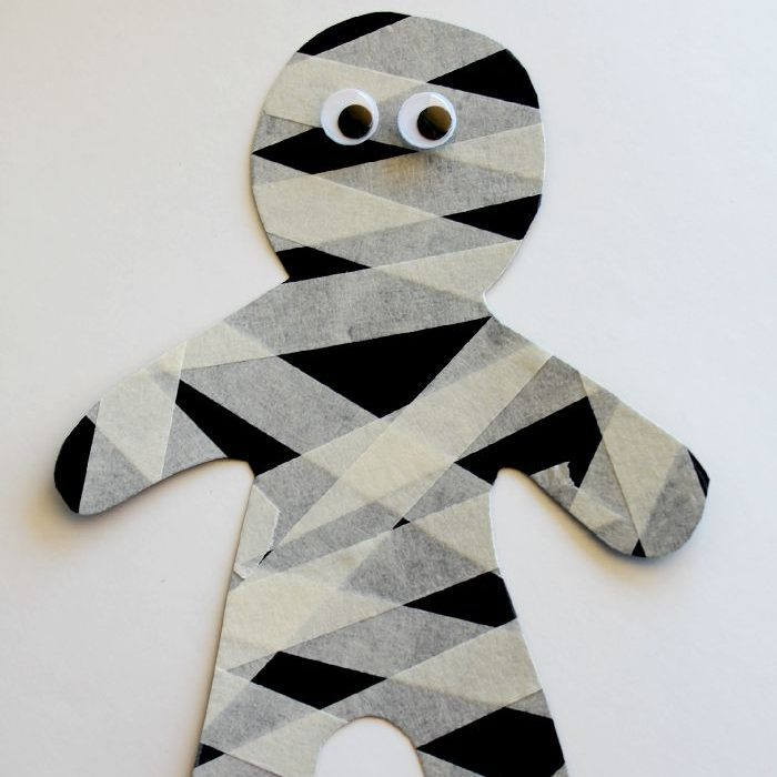 Easy Halloween Craft For Kids Masking Tape Mummy