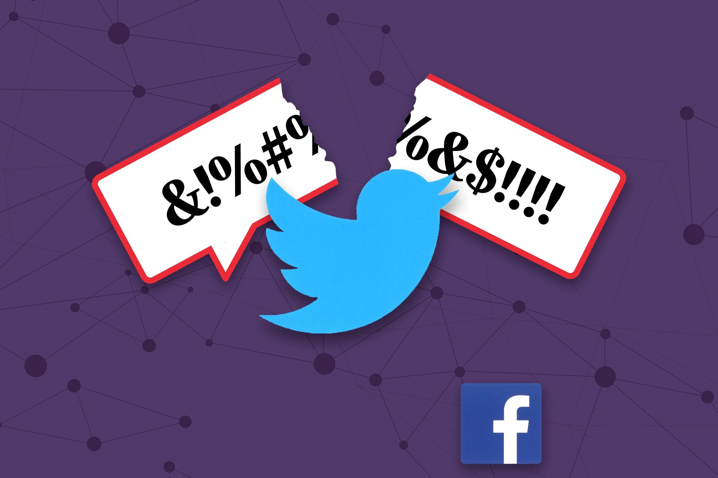 "twitter icon breaking a ""hate speech"" speech bubble while the facebook icon sits nearby."