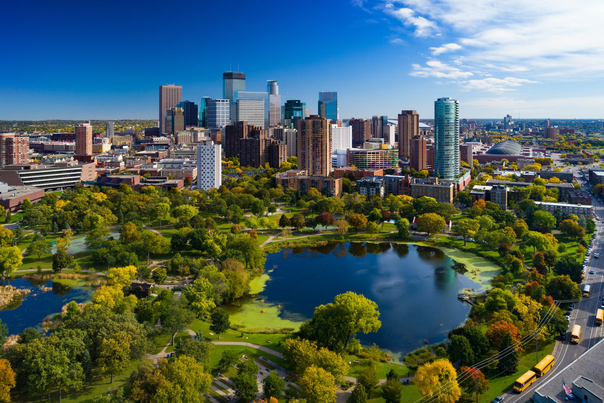 Minneapolis Skyline Aerial With Park And Lake
