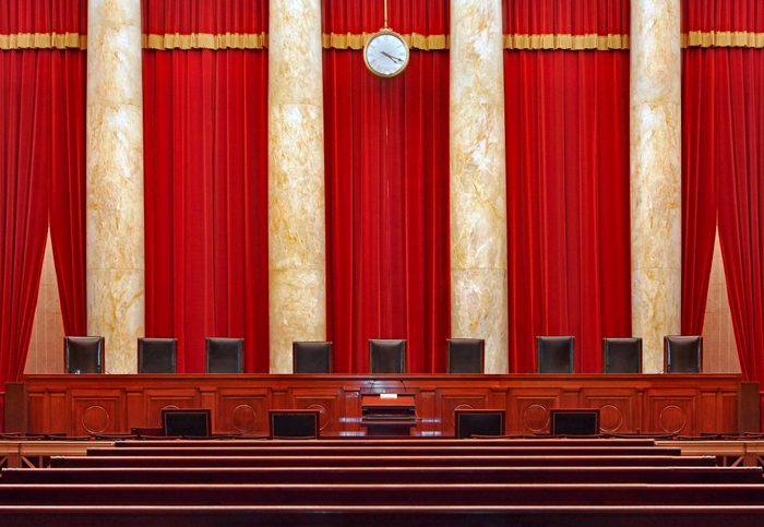 Court room interior at the United States Supreme Court