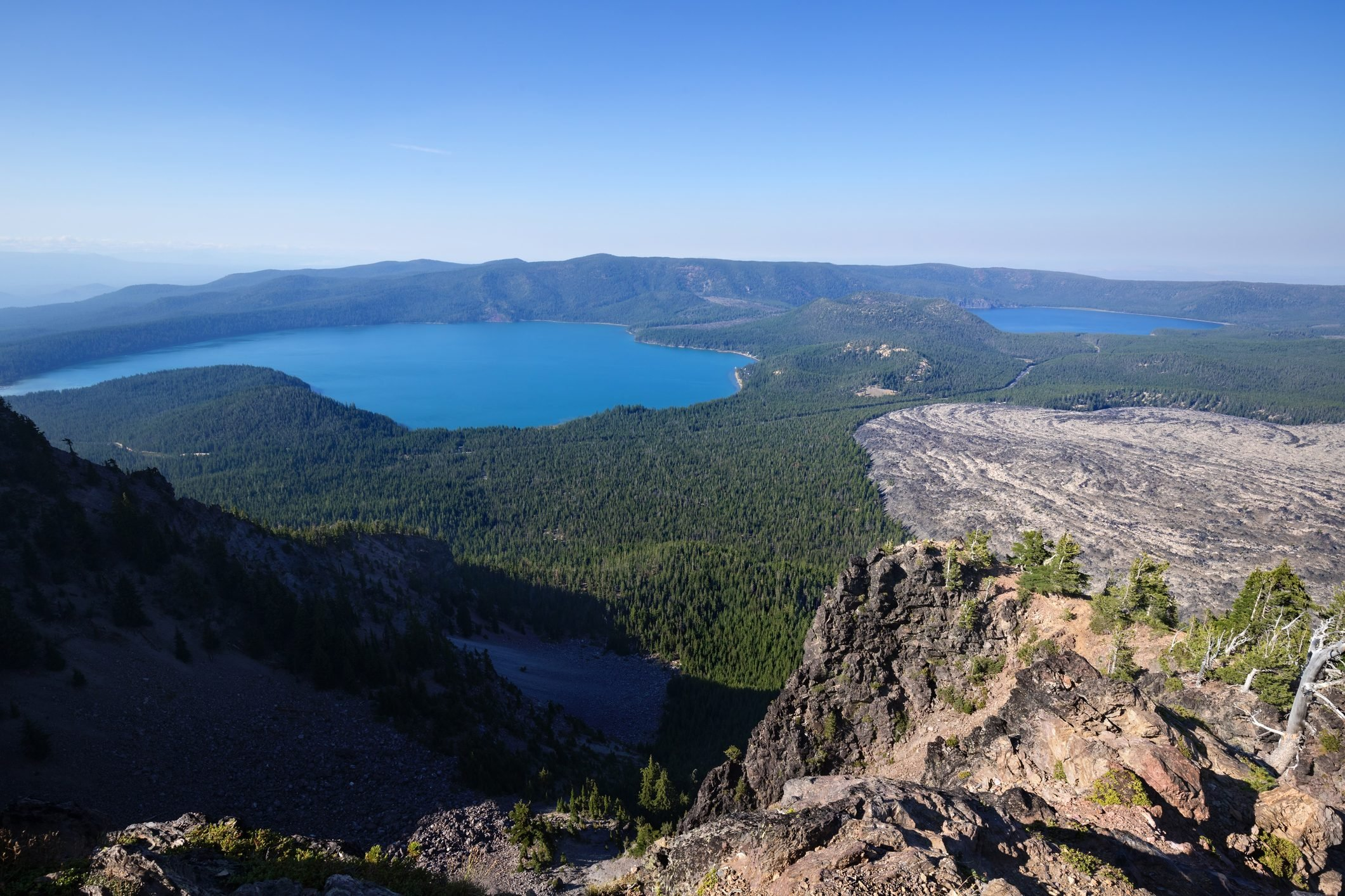 Panoramic view from Paulina Peak, Newberry National Volcanic Monument near Bend, Oregon