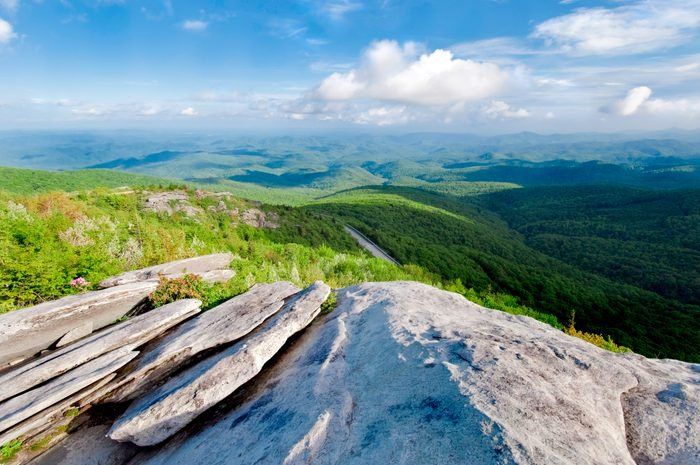 Blue Ridge Mountains with grass and clouds
