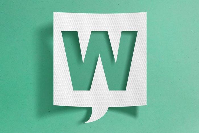 Speech bubble with letter W
